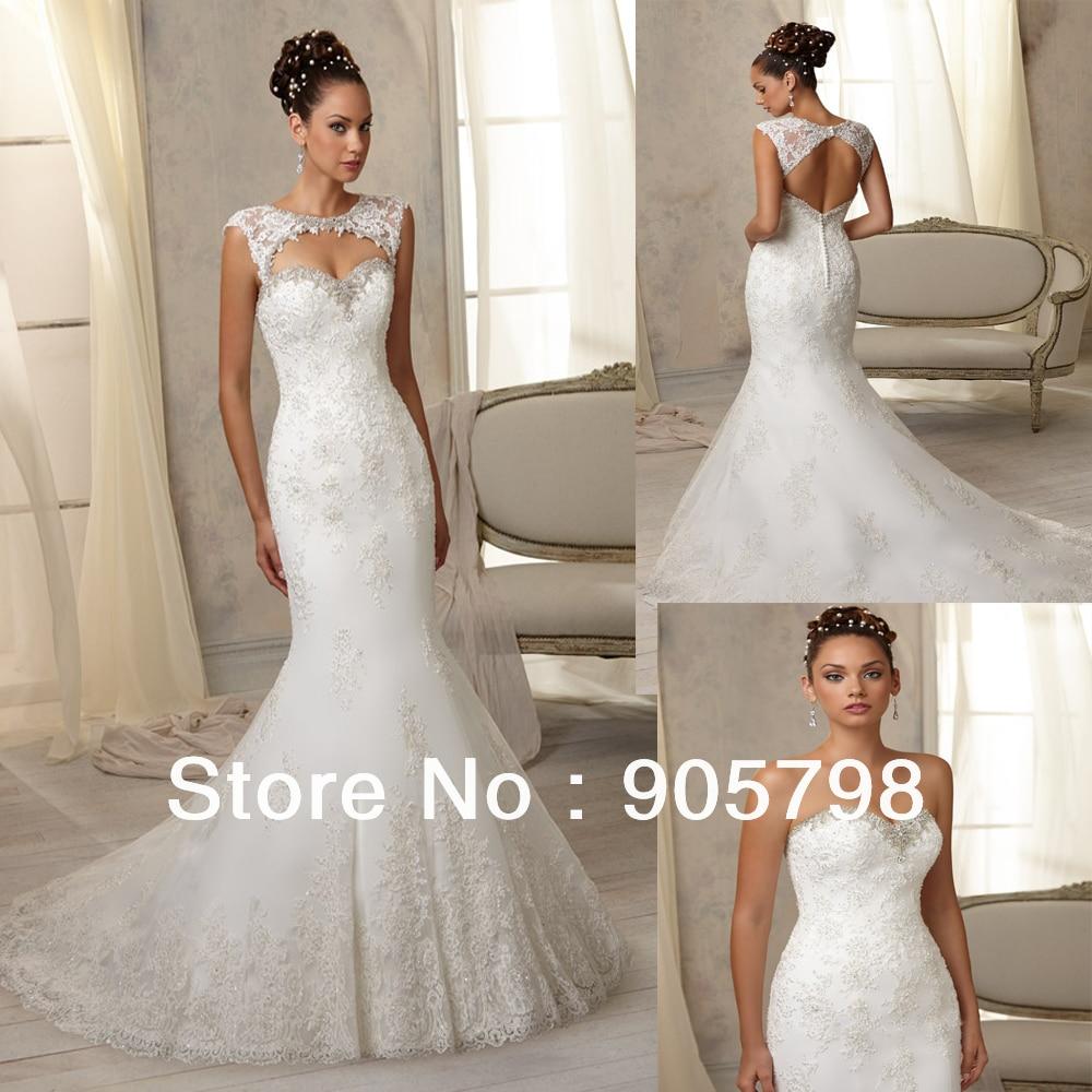 2014 sexy low back sweatheart lace mermaid wedding dress