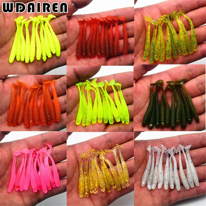 10Pcs/lot Wobbler Jigging 5cm 0.7g Fishing Lure Soft Worm Shrimp Jerkbait Fish Ocean Rock lure bass soft fish smell soft baits 50pcs new wifreo soft lure loader locker connector fishing worm hook bait accessories for bass fishing wholesale