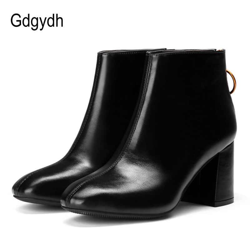 Gdgydh Yeni Varış Deri Bayan Botları Topuklu Kadın yarım çizmeler Yüksek Topuklu Kauçuk Taban rahat ayakkabılar 2018 Sonbahar Promosyon