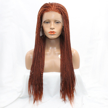 DLME #350 Color Red Brown Handmade Braiding Wig Synthetic Hair Lace Front 2X Twist Braids Afro Wigs for women Heat Resistant