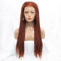 Dlme #350 اللون الأحمر البني اليدوية التضفير الباروكة الشعر الاصطناعية 2x تويست الضفائر الأفرو الباروكات للنساء حرارة الدانتيل الجبهة مقاومة