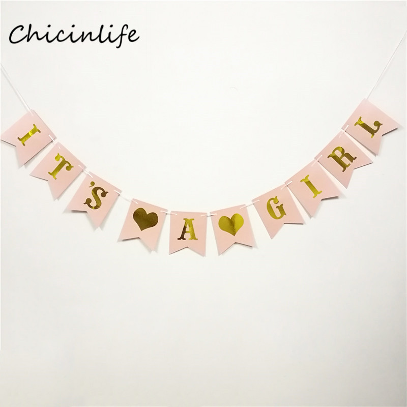 Chicinlife 1set pink /White Its a Girl Banner Girl Party Decoration Girl Baby Shower Garland Baby Girl Shower Decoration
