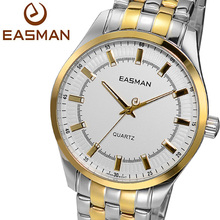 EASMAN Brand Watches Men Gold White Dial Analog Quartz Wristwatch Luxury Designer Gold Plated Stainless Steel