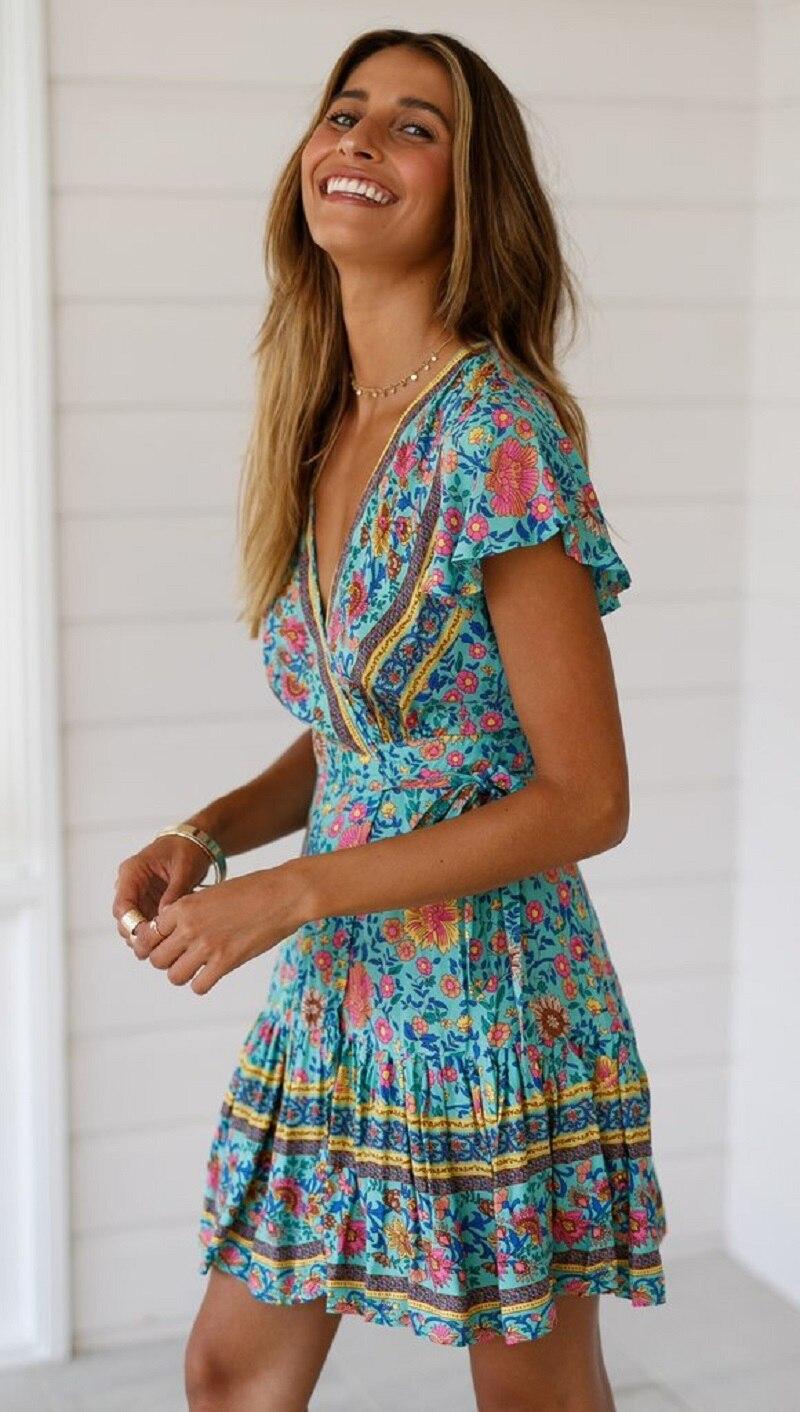 5 vieunsta vintage floral imprimir praia vestido de verão das mulheres novas com decote em v plissado uma linha de mini vestido elegante vestido plissado vestido de verão cinto - HTB1JMbRaODxK1Rjy1zcq6yGeXXaq - VIEUNSTA Vintage Floral Imprimir Praia Vestido de Verão Das Mulheres Novas Com Decote Em V Plissado Uma Linha de Mini Vestido Elegante Vestido Plissado Vestido de Verão Cinto