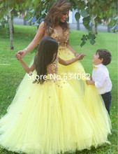 Beautiful Yellow Tulle Ball Gown Flower Girls Dresses for Party and Weddings 2016 casamento Sheer Back Girls Formal Gowns Bow