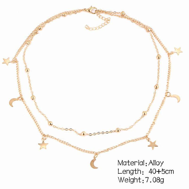Золотые ожерелья с кулонами в виде Луны, Женские многослойные, круглые бусы, цепочка на ключицы, Чокеры в богемном стиле, модные ювелирные изделия, аксессуары