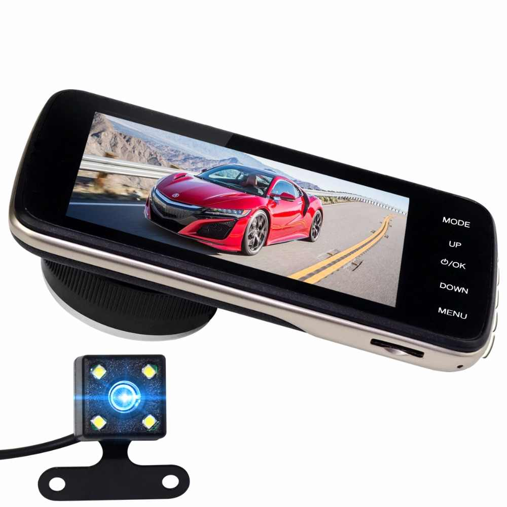 """Мини Автомобильный видеорегистратор с двойным объективом видео Full HD 1080 P 4 """"дюймовый рекордер парковочная Автомобильная камера WDR камера для приборной панели ночного видения авто видеорегистратор с мини-камерой"""
