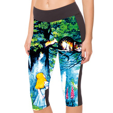 New 1076 Sexy Girl Women Alice in Wonderland Cheshire cat 3D Prints Workout Fitness Cropped Trousers Leggings Pocket Pants