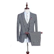 (3 Teile/los) britischen Männer Anzug Schwarz Weiß Kleine Plaid Slim Fit Männlichen Smoking Tragen Mens Kleid Anzüge Formelle Hochzeit Anzüge Für Männer