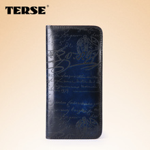TERSE_100% handmade leather business long wallet high quality genuine leather luxury purse engraving service 7 colors