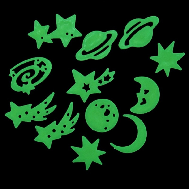 New Fluorescent Stickers Universe Planet Star Glow Dark Luminous Celling Wall Art Home Paste Ceiling Decoration Decal Tags Decor