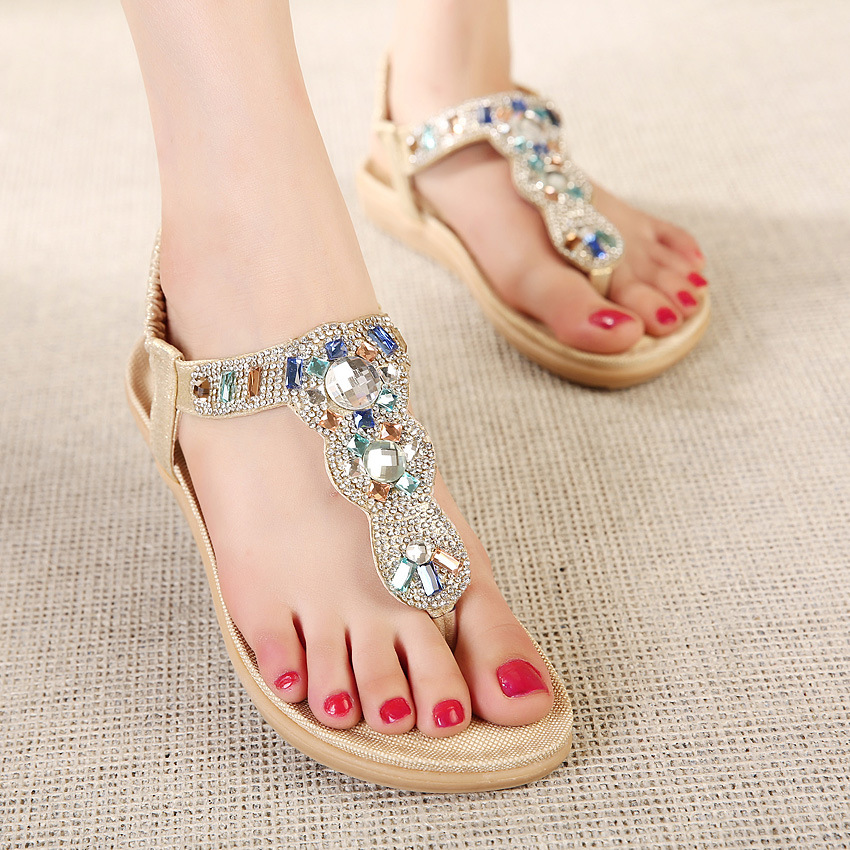 d0bc790c708a55 New Fashion Women Summer Casual Sandals Flat Heel Bling Crystal Flip Flop  Back Strap Elastic Band Beach Bohemia Style