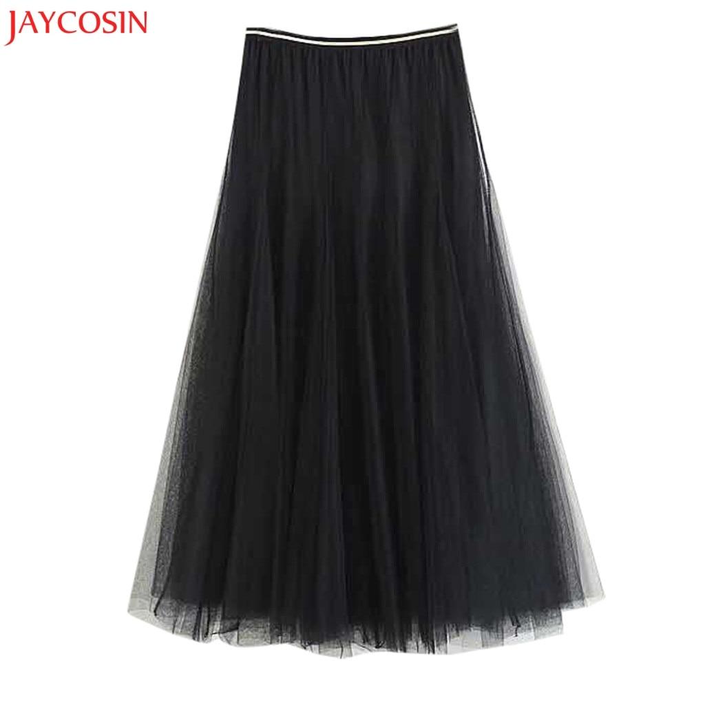 Jaycosin Women Fashion High Waist Girls Big Swing Tulle Pleated Long Maxi Tutu Skirt For Women High Waist Net Black Skirt Z0405 Customers First Bottoms Skirts