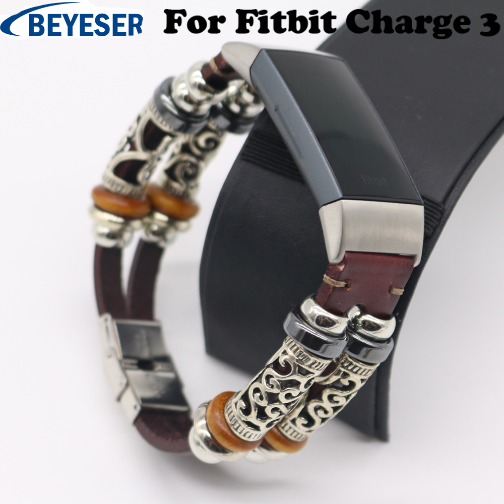 Jewelry Watch Strap for Fitbit Charge 3 Bracelet Personality Leather Replacement Band Smartwatch Accessories for Fitbit Charge3