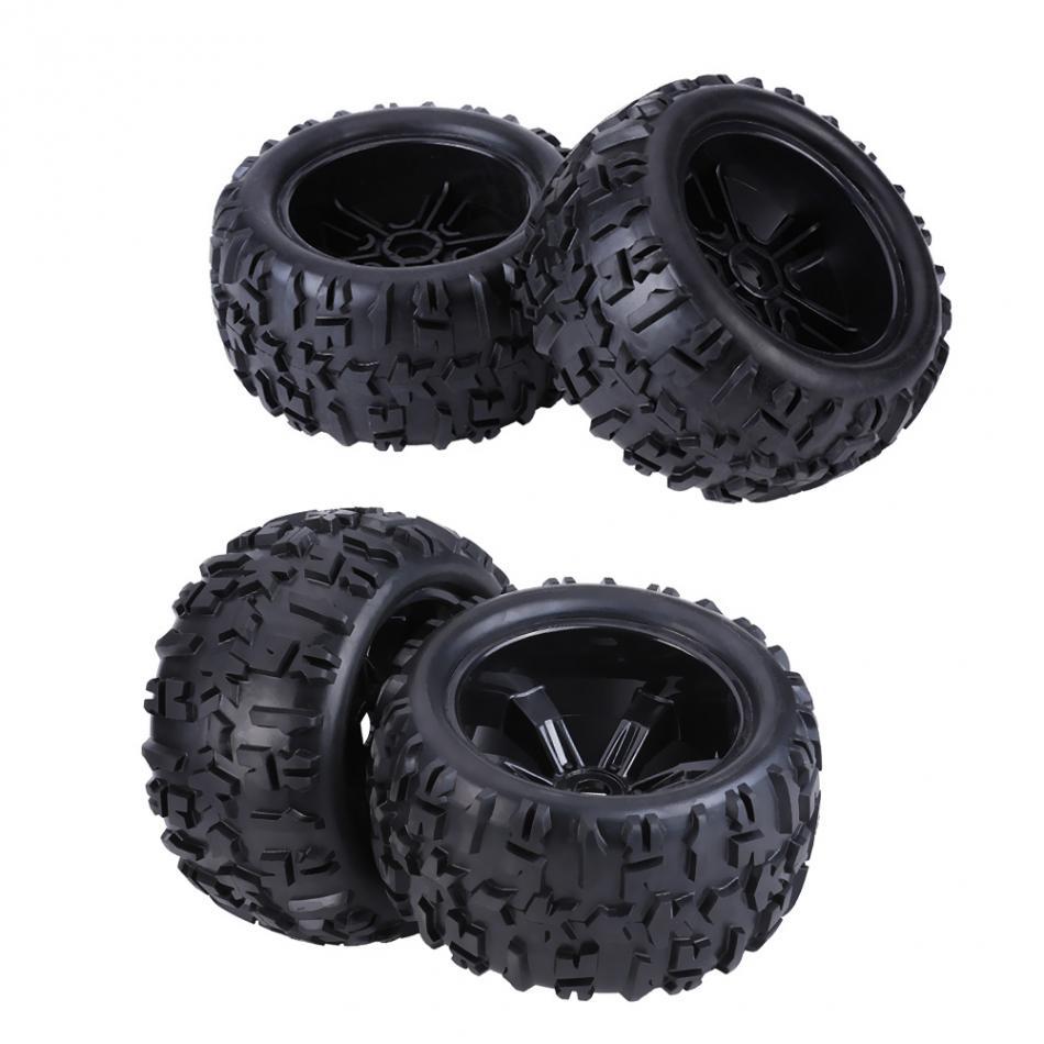 4pcs/set Rubber Tyre Tires & Plastic Hubs Wheel Rims Accessories for 1/8 RC Truck Car 4pcs 1 9 rubber tires