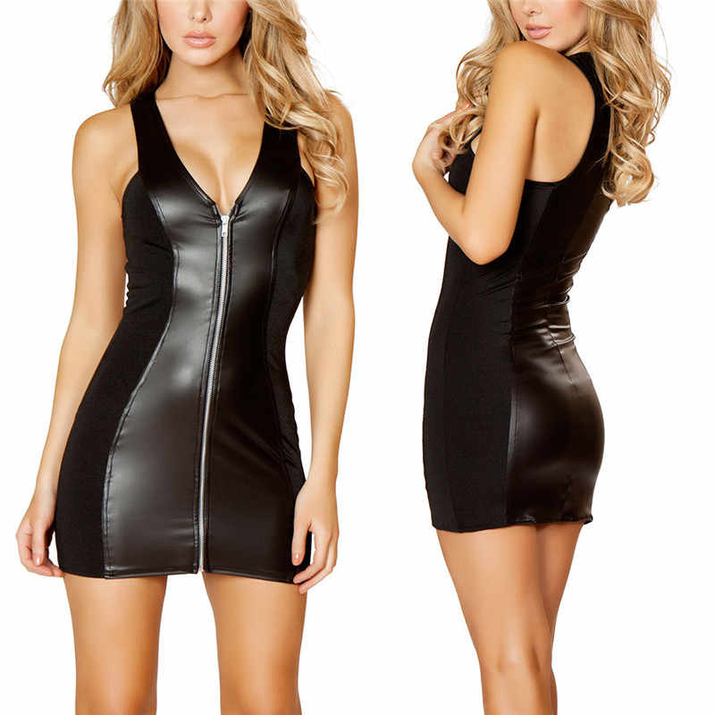 Frauen Sexy Party Bodycon frauen Strappy Zipper Clubwear Mini Kleid Schwarz Catsuit PVC Verband Kleid Damen Latex Leder Kleid