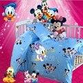 ¡ Promoción! 3 UNIDS Mickey Mouse ropa de cama cuna juego de cama de lino de algodón cortina parachoques cuna bebé, Funda Nórdica/Hoja/Funda de almohada