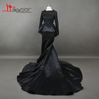 2017 Custom Made O Neck Evening Prom Dress African Long Train Sleeves Appliques Sexy Mermaid Real