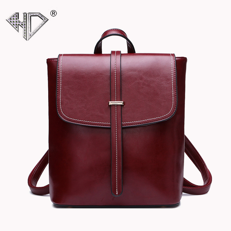 Genuine Leather Backpack Women 2017 School Bags For Teenagers Rugzak Summer Fashion Oil Wax Ladies Vintage Laptop Backpacks D5 hot sale women s backpack the oil wax of cowhide leather backpack women casual gentlewoman small bags genuine leather school bag