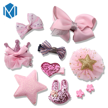 M MISM 10Pcs/1Set Children Lovely Tiaras Hair Clips Barrettes Flower Star Bow Baby Crown Hair Accessories Kids Girls Hairpins