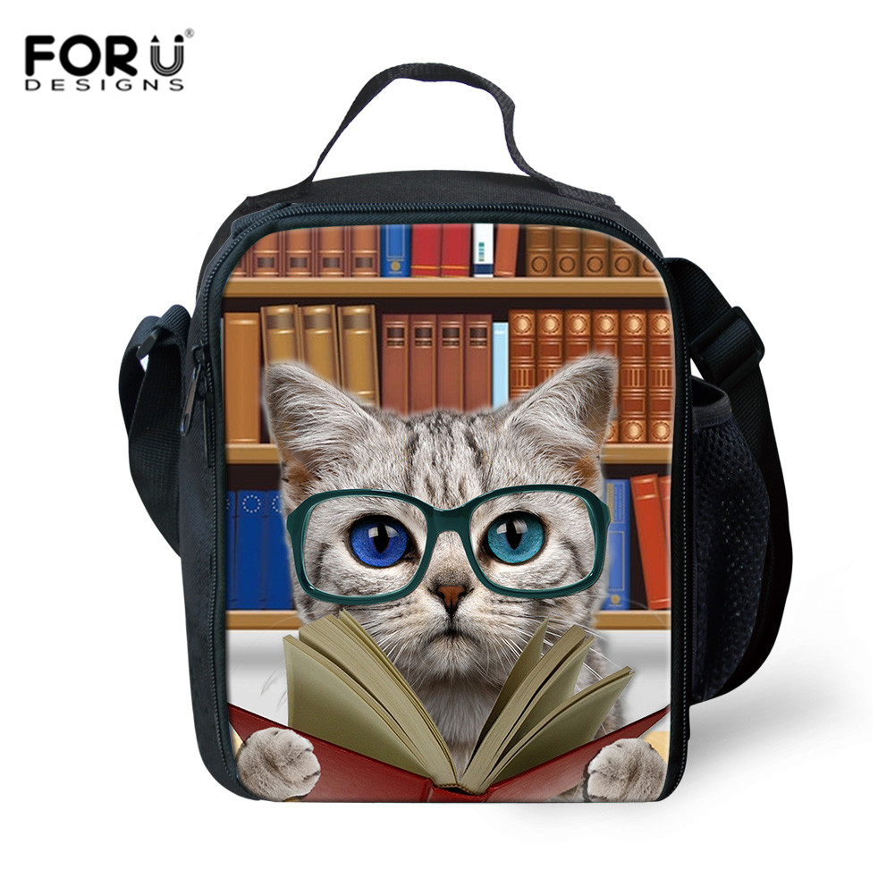 FORUDESIGNS Lunch Bags For Kids Girls Boys Picnic Totes Library Book Cat Dog Prints Insulated Thermo Food Bags Women Mochila Sac