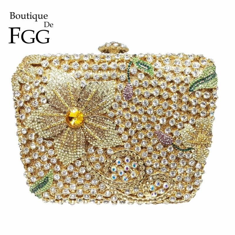 Boutique De FGG Multi-Color Crystal Flower Evening Purse Metal Minaudiere Handbag Women Party Cocktail Clutch Bag Wedding Bag