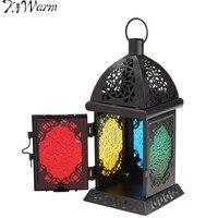 KiWarm Beautiful Moroccan Sryle Vintage Glass Metal Garden Candle Holder Table Hanging Lantern For Home Wedding