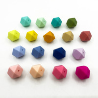 Candy color 23.2MM Biggest Geometric Hexagon silicone Baby Teething Beads Safe Food Grade Nursing Chewing Silicone Beads