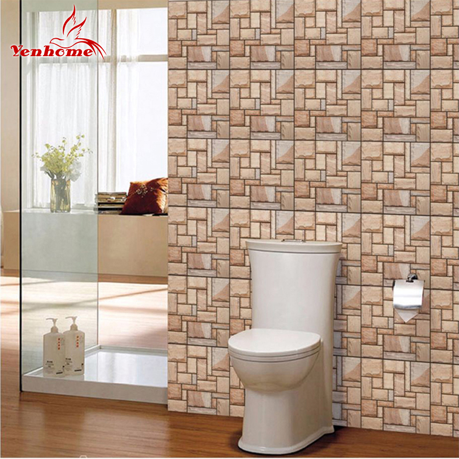 3D Stone Brick Tiles Wall Decals DIY Self Adhesive