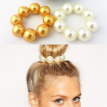 8 Big Pearl Hair Rope vintage Hair Accessories Big Pearl Holder head Tool Hairbands Women Girl party Flower Donuts Twist Elastic