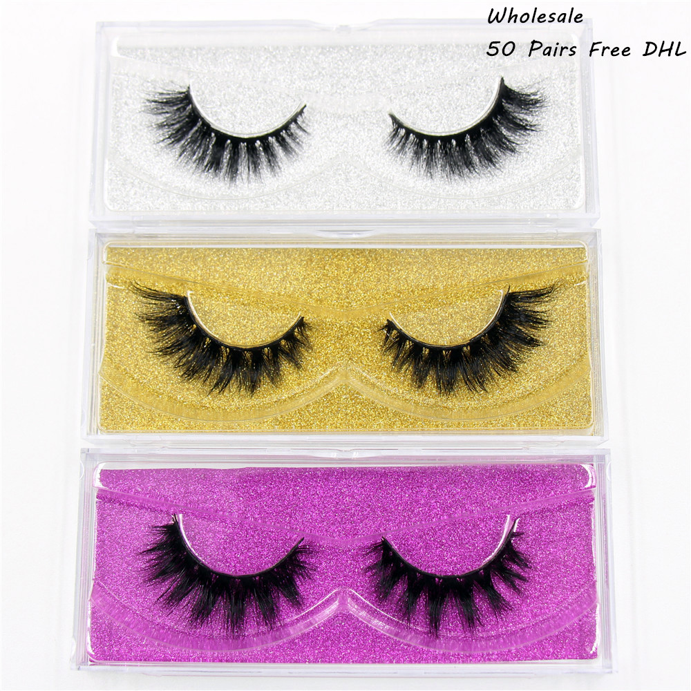 AMAOLASH Free DHL 50 Pairs False Eyelashes 3D Mink Lashes High Volume Natural Mink Eyelash Thick