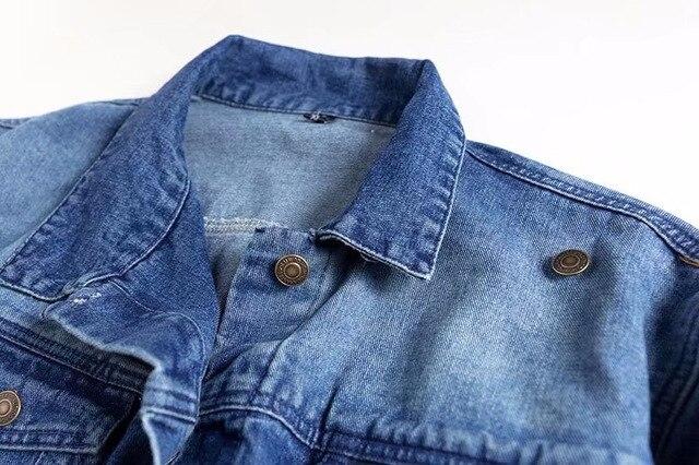 2018 Spring Kendall Jenner Streetwear Fashion Jeans Jacket Oblique Buckle Irregular Design Washed Denim Jacket Coat Female 2