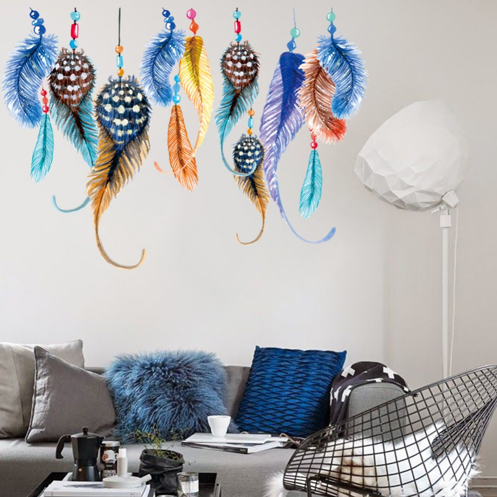 Incroyable Colorful Feathers Wall Stickers Decals Women Home Salon Bedroom Window  Furniture Africa Decor Ethnic Arts Wall Papers Murals In Wall Stickers From  Home ...