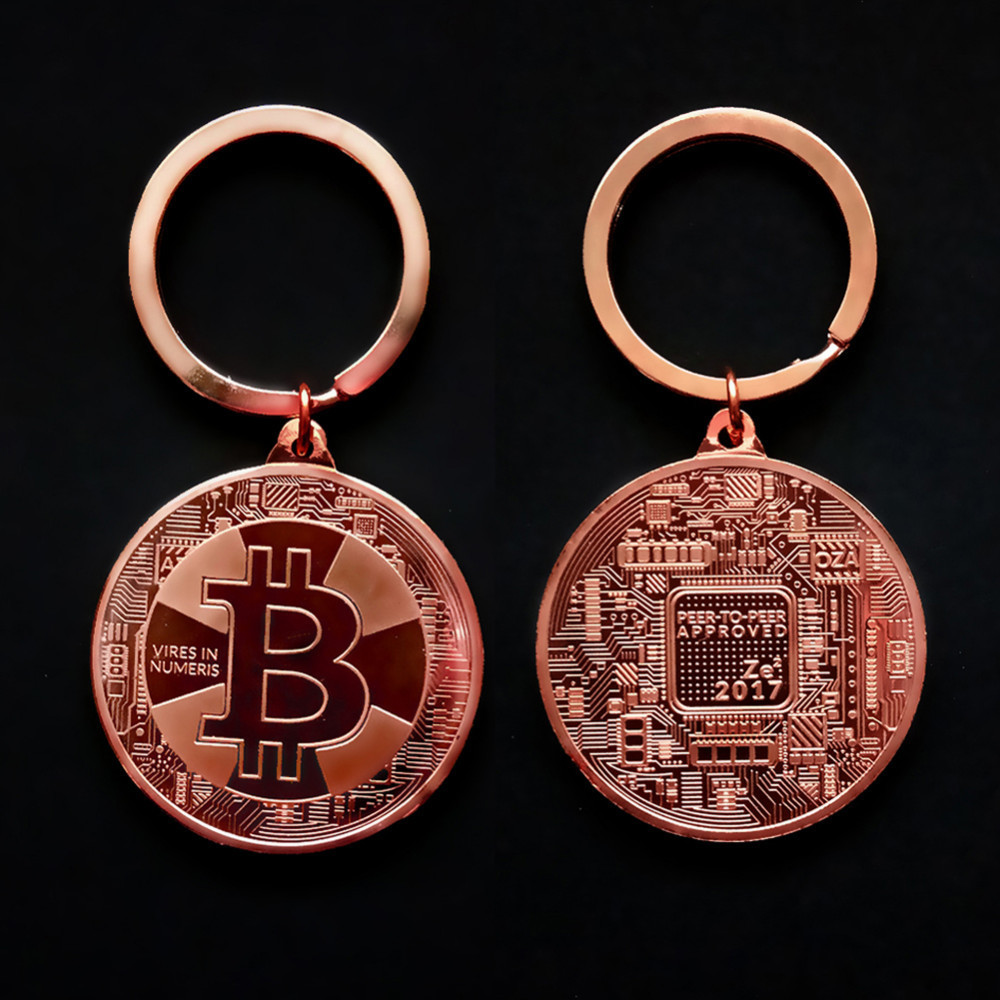 2018 New Gold Plated Bitcoin Coin Key Chain BTC Coin Art Collection Souvenirs Collectibles Business Gifts And Holiday DecoGifts 5
