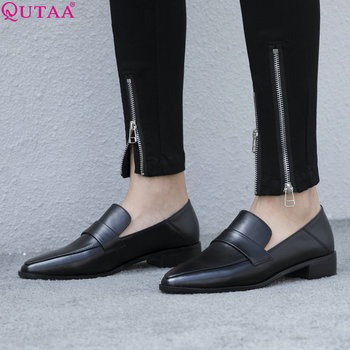 QUTAA 2019 Women Pumps New Pointed ToeFashion Women Shoes Platform Square Heel Cow Leather +pu Casual Ladies Pumps Size 34-39