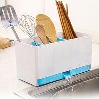 Suporte de plástico rack esponja cesta lavagem prateleira seca talheres escorredor pia arrumada utensílios