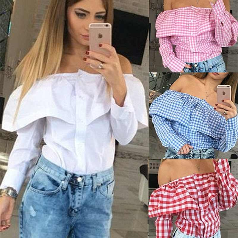 2a8be85a9a02ce Sexy Off Shoulder Tops Slash Neck Ruffles Long Sleeve Women Blouse Button  Cardigan White Red Pink