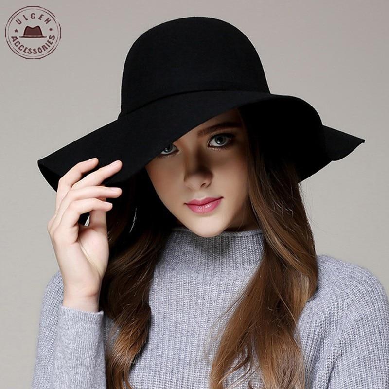 19ee4370 Fashion Winter Fedora Hats for Women Hat Vintage Bowler Jazz Top Cap Felt  Wide Brim Floppy
