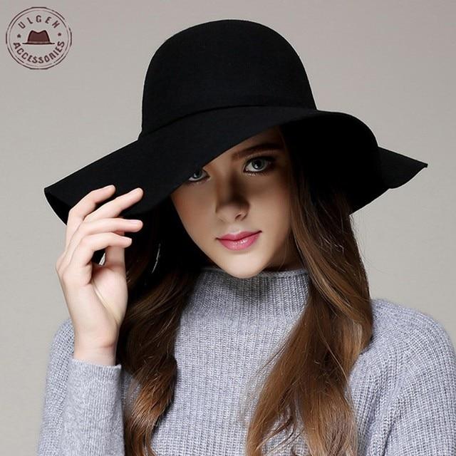 52d3837b9eb64 Moda de invierno sombreros para las mujeres sombrero Vintage Bowler Jazz  tapa sentí ancho Brim Floppy