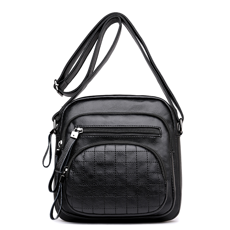 Fashion Checkered Design Women Handbag PU Leather Messenger Shoulder Multi-purpose Bags Female Crossbody Bag Ladies Small Bag pu leather metal multi zips handbag