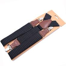 JIERKU Man's Suspenders Woman's Braces Leather 3Clips Suspensorio Fashion Elastic Trousers Strap 3.5*120cm