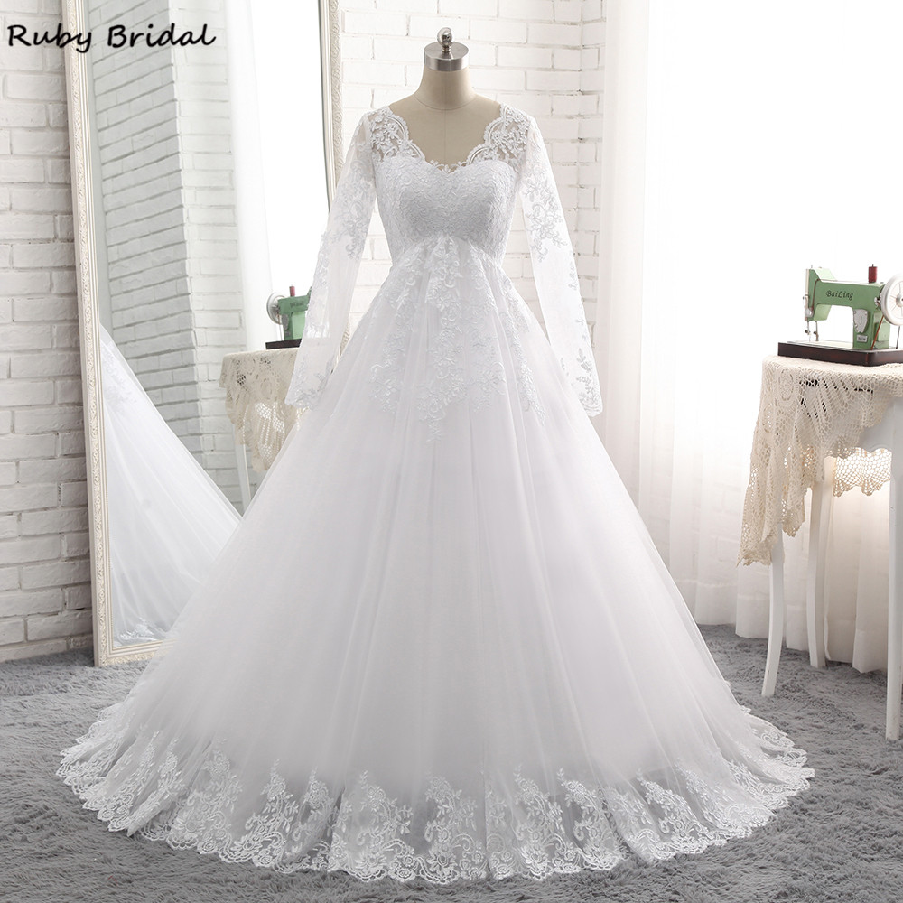 Ruby Bridal Vintage Long Ball Gown Wedding Dresses Princess White Tulle Appliques Long Sleeves Bridal Gown