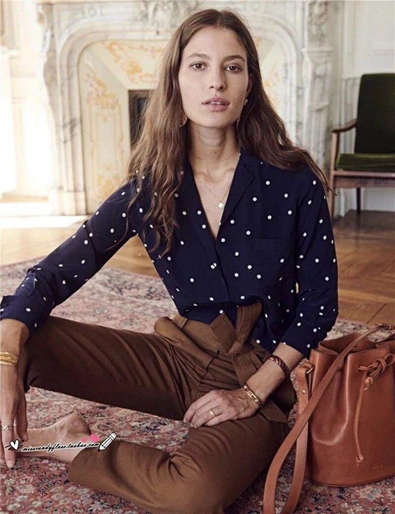 8c9d0f6152a00c 2019 New Women Silk Polka Dot Print Blouse Long Sleeve Front Pocket Shirt