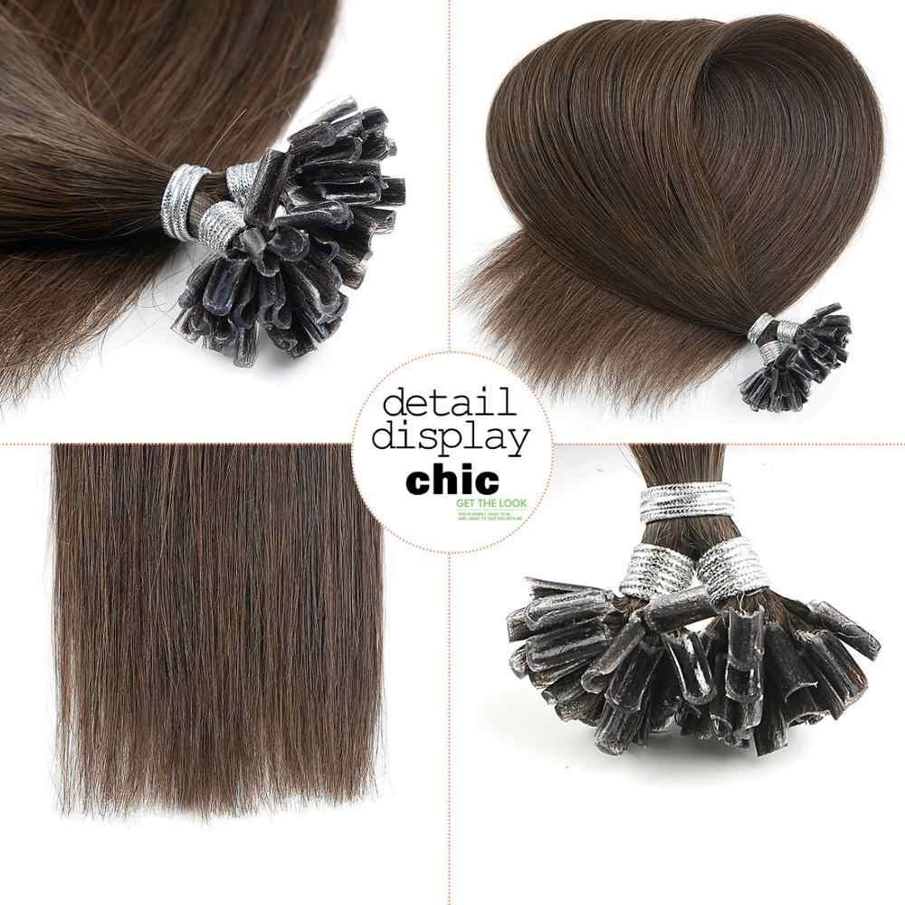 """Neitsi em linha reta remy fusão humano queratina cabelo prego u ponta pré ligado cápsulas duplo estirado extensões de cabelo 16 """"20"""" 24 """"28"""""""