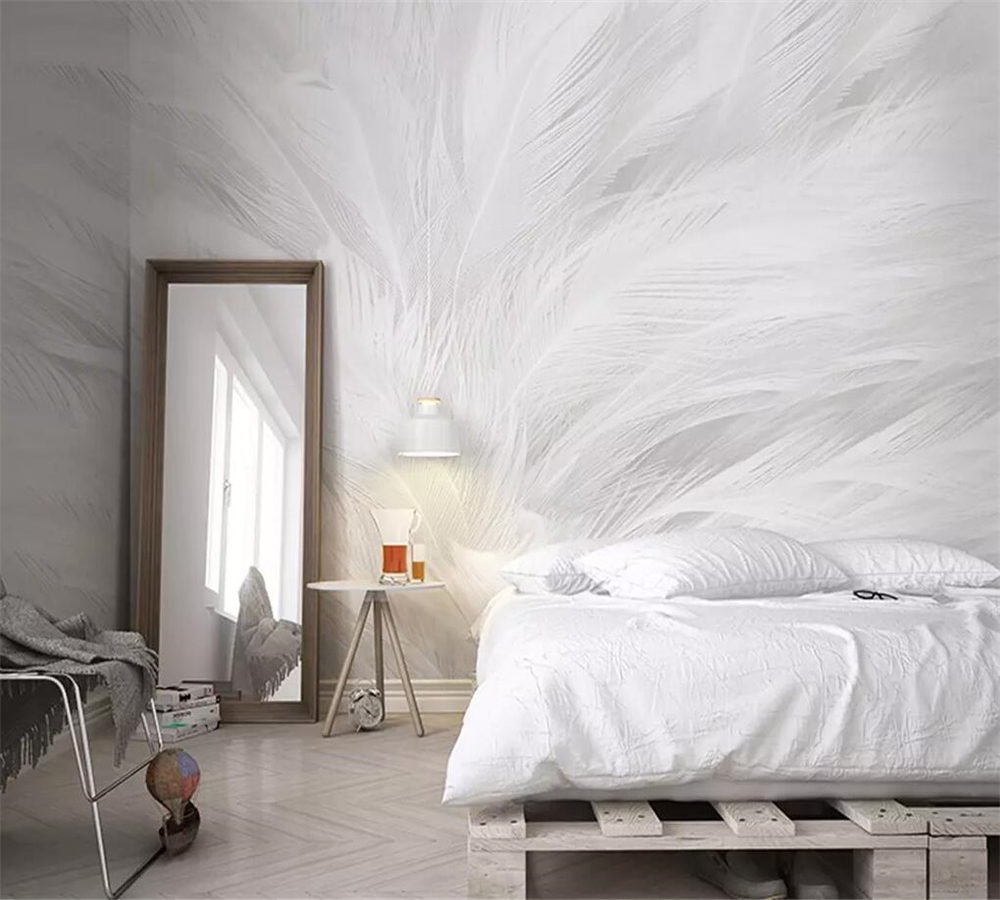 Wellyu Custom Wallpaper 3d Nordic Modern Minimalist White Feather Living Room TV Background Wall Papel De Parede 3d Wallpaper