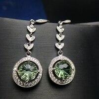 Almei Green Crystal Drop Earrings for Women, 925 Sterling Silver Dangle Earrings for Women Girls 20% FR163