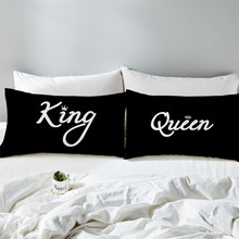 Couples Pillowcase KING QUEEN Letter Print Pillow Case Lovers Cover Valentines Day Gift Bedding Home Textile