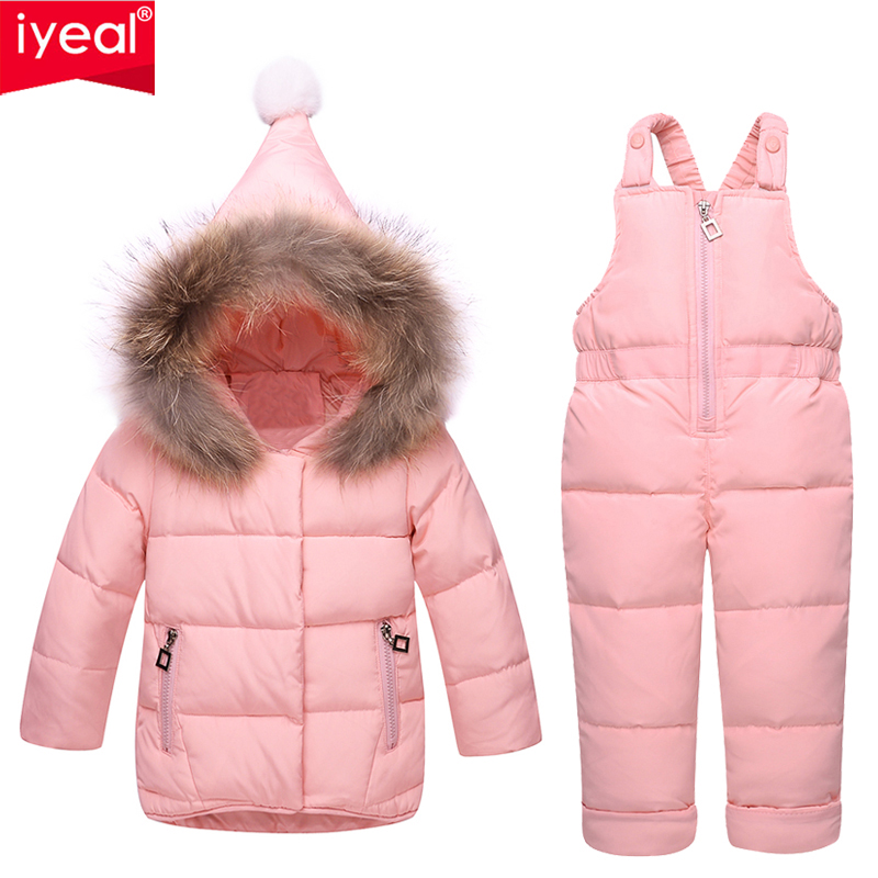 IYEAL Russia Winter Children Clothing Baby Ski Suit Parka Down Jacket + Overalls Girls Clothes Sets Thick Warm Kids Outerwear new 2017 russia winter boys clothing warm jacket for kids thick coats high quality overalls for boy down