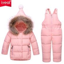 Iyeal Rusland Winter Kinderkleding Baby Skipak Parka Donsjack + Overalls Meisjes Kleding Sets Dikke Warme Kids Bovenkleding