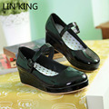LIN REI Pu Couro Doce Cosplay Lolita Sapatos Único Bombas mulheres Vestido de Festa Da Moda Sapatos de Plataforma Dedo Do Pé Redondo Cunha Plus Size tamanho